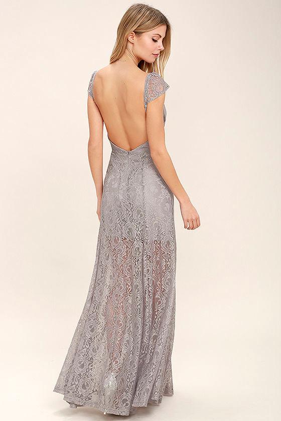 Evening Dreaming Light Grey Lace Maxi Dress 3