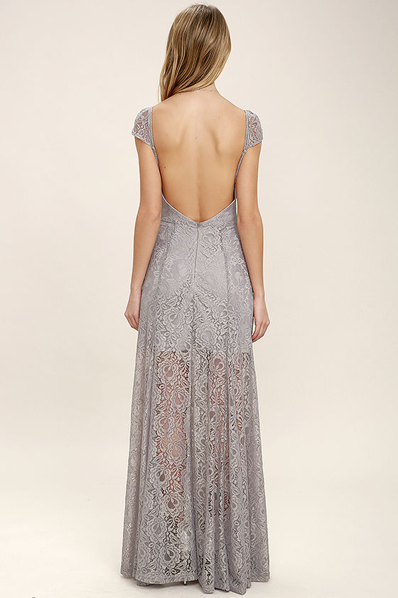 Lovely Light Grey Maxi Dress - Lace Maxi Dress - Elegant ...