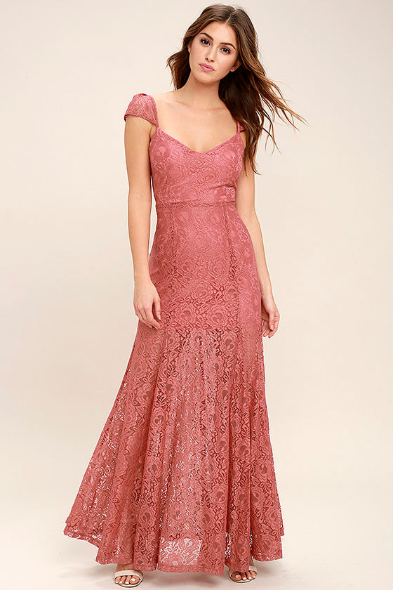 Evening Dreaming Rusty Rose Lace Maxi Dress 2