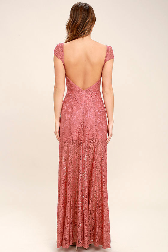 Evening Dreaming Rusty Rose Lace Maxi Dress 5