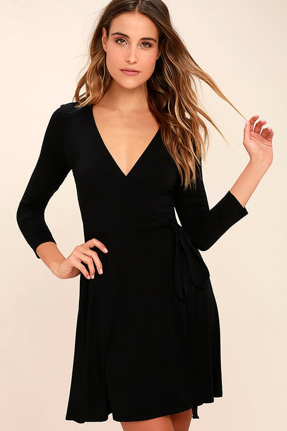 Cool Black Dress - Wrap Dress - Three-Quarter Sleeve Dress - $48.00