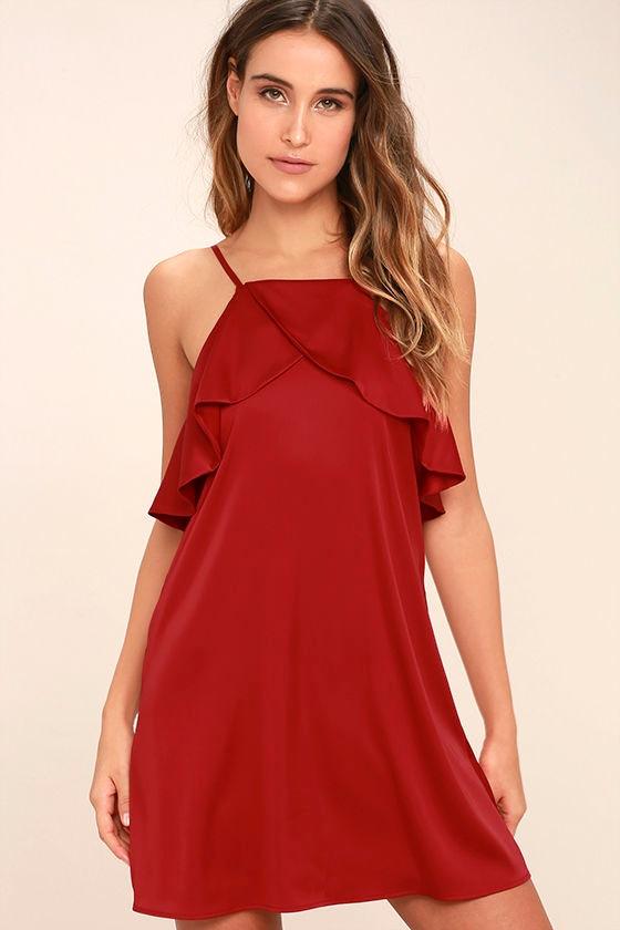 Sexy Dark Red Dress - Red Satin Dress - Ruffled Dress - Shift ...