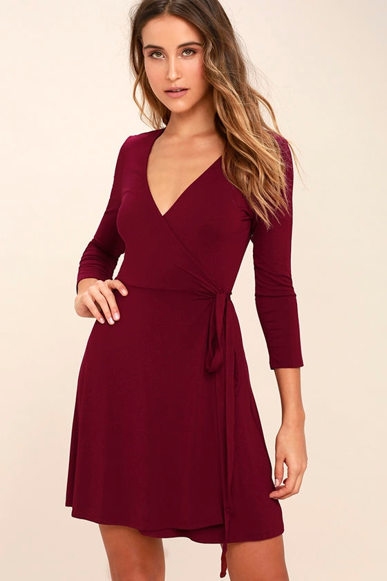 Cool Burgundy Dress - Wrap Dress - Three-Quarter Sleeve Dress - $48.00