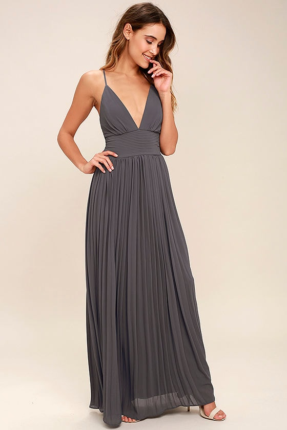 Stunning Slate Grey Dress - Pleated Maxi Dress - Grey Gown - $78.00