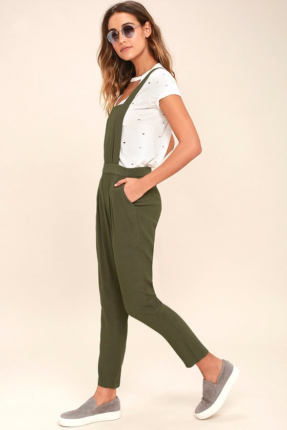 d95f880a0927 BB Dakota Kelly Overalls - Olive Green Overalls - Woven Overalls ...