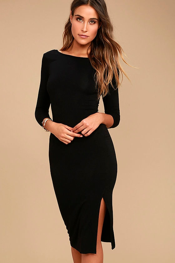 Chic Black Dress - Midi Dress - Bodycon Dress - $38.00