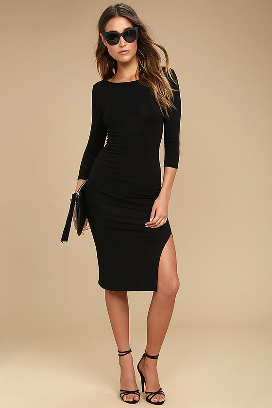 d274a6097b3 Chic Black Bodycon Dress - Side Slit Midi Dress