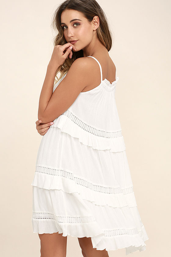 Moon River Sunrise Point Off-White Lace Swing Dress 3