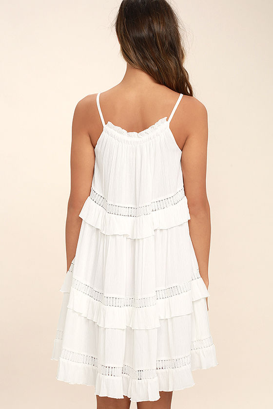 Moon River Sunrise Point Off-White Lace Swing Dress 4