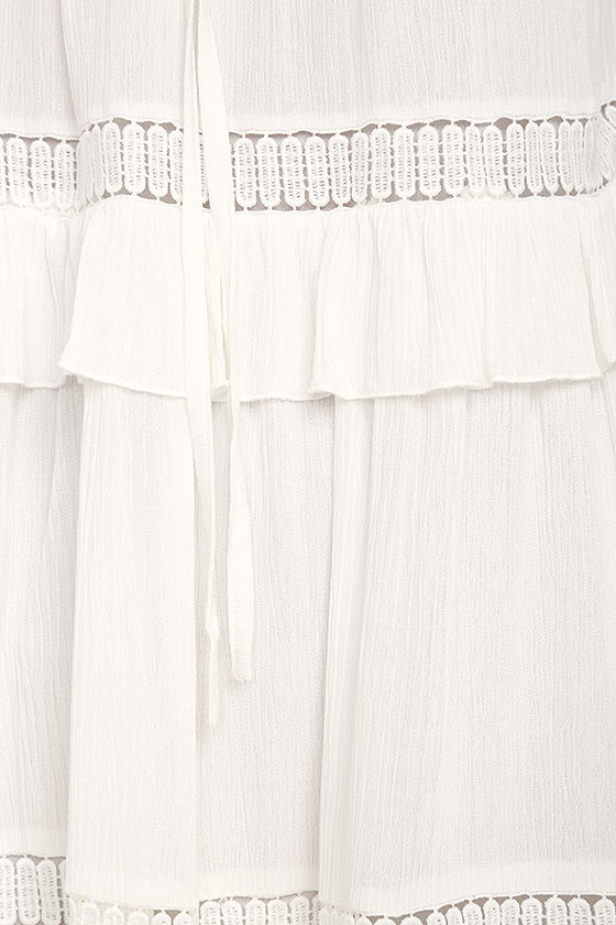 Moon River Sunrise Point Off-White Lace Swing Dress 6