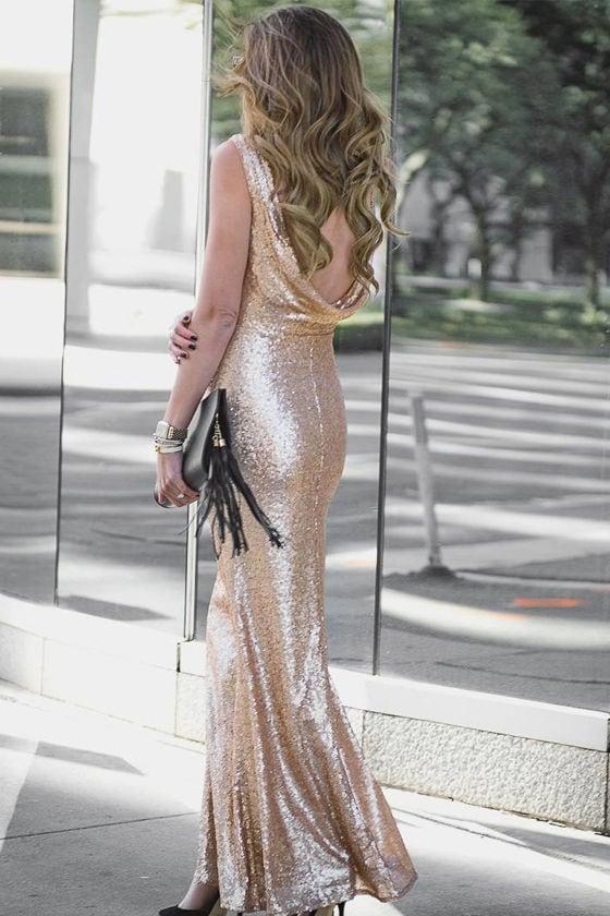 Slink and Wink Matte Rose Gold Sequin Maxi Dress 7