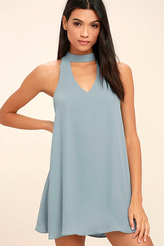 Cute Slate Blue Dress - Swing Dress - Cutout Dress - $49.00