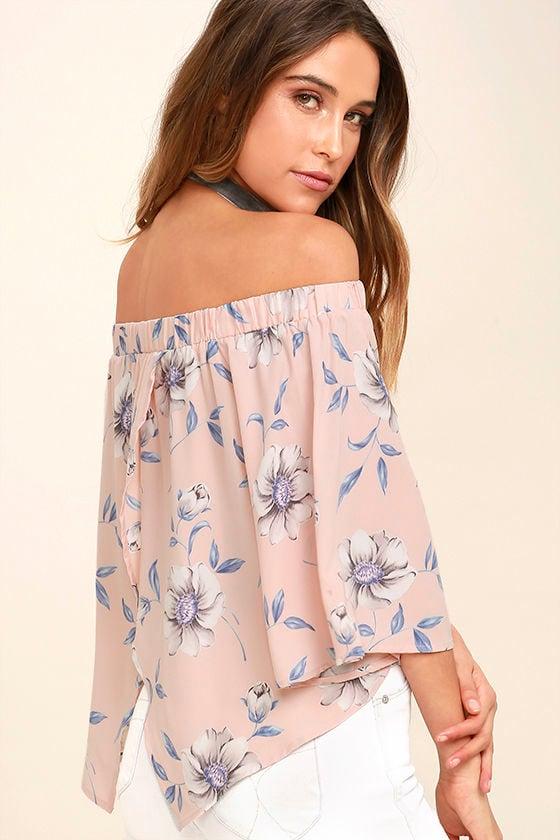 Light of Dawn Blush Pink Floral Print Off-the-Shoulder Top 1