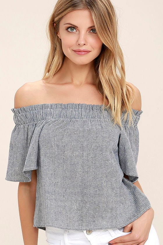 Seas the Day Blue and White Striped Off-the-Shoulder Top 1
