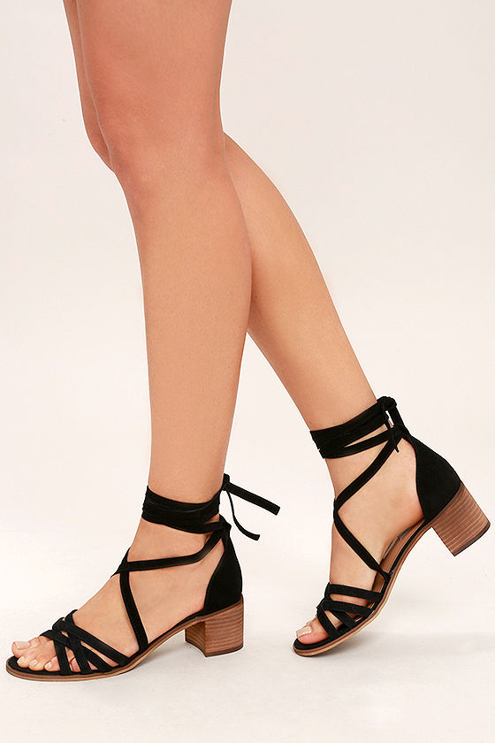 Steve Madden Revere Black Suede Leather Lace-Up Heels 1