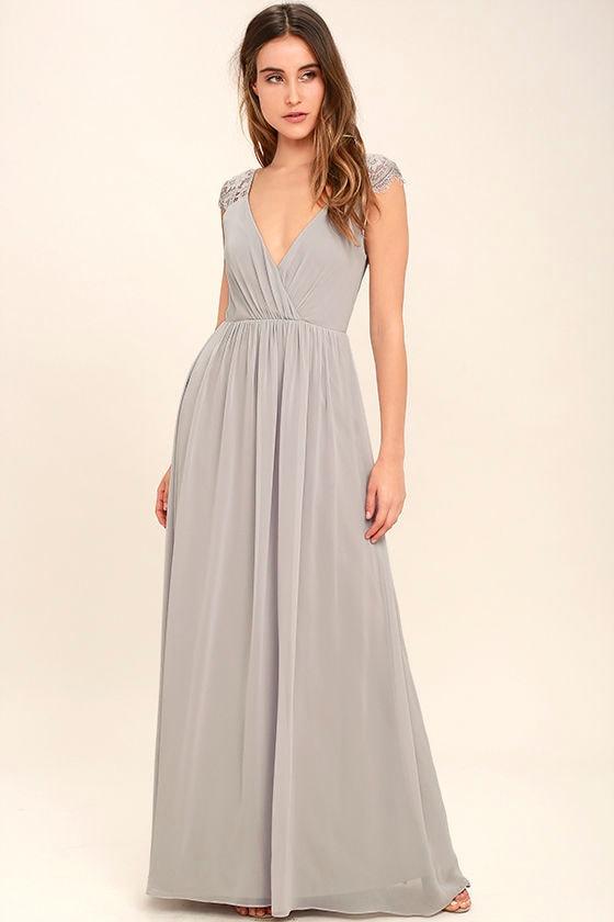 Lovely Light Grey Dress - Maxi Dress - Lace Dress - Gown ...