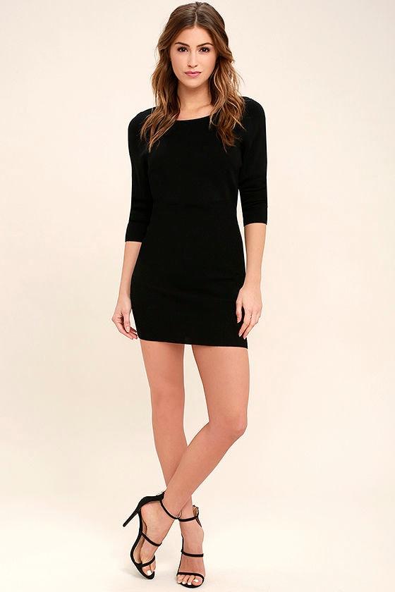 Chic Black Dress - Bodycon Dress - Sweater Dress - $54.00