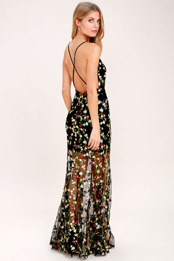 Whimsy Daisy Black Embroidered Maxi Dress 1