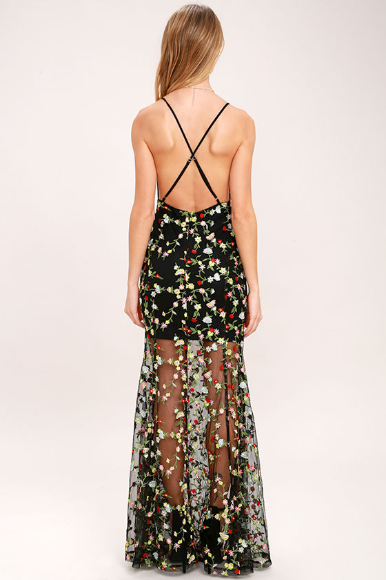 Whimsy Daisy Black Embroidered Maxi Dress 4