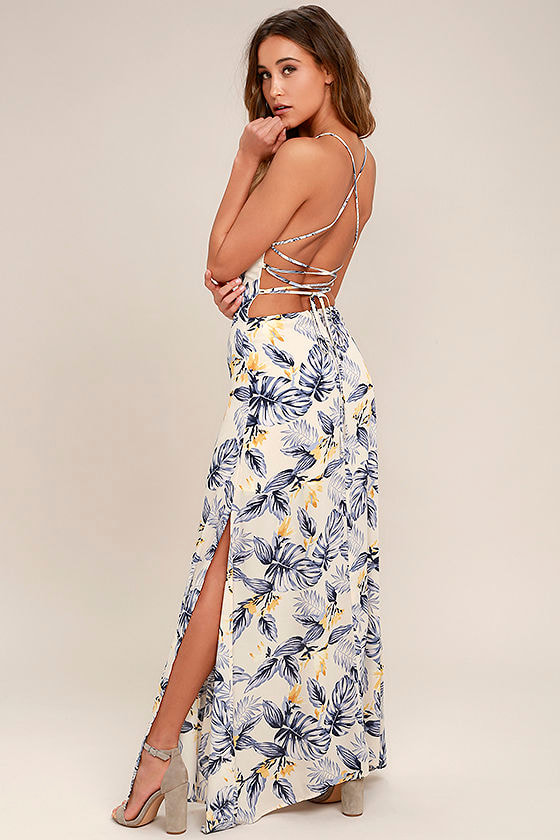 2d9073c3ad8 Lovely Cream Floral Print Dress - Lace-Up Dress - Maxi Dress -  78.00
