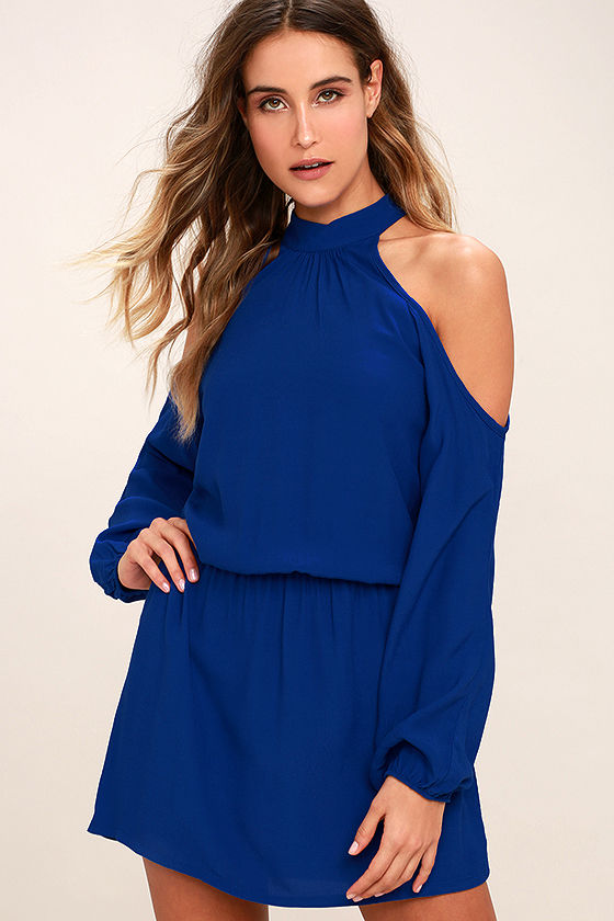 Lucy Love Genna Royal Blue Long Sleeve Dress