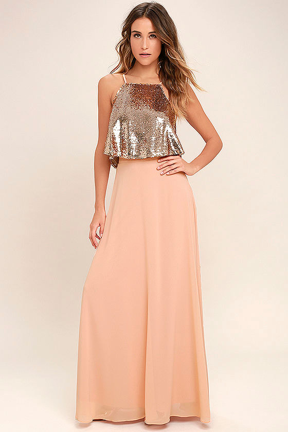 Stunning Rose Gold Dress - Sequin Two-Piece Dress - Two-Piece Maxi ...