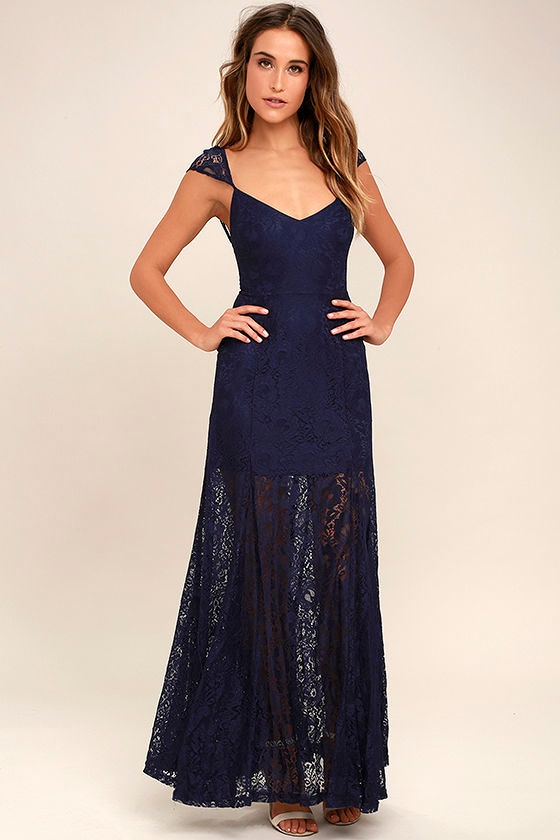 Evening Dreaming Navy Blue Lace Maxi Dress 1