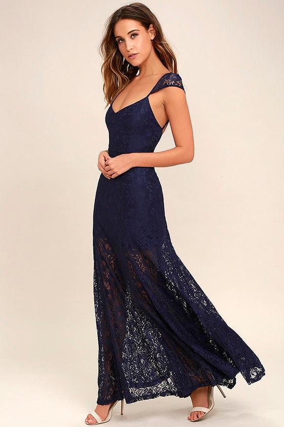 Lovely Navy Blue Maxi Dress - Lace Maxi Dress - Elegant ... - photo #38