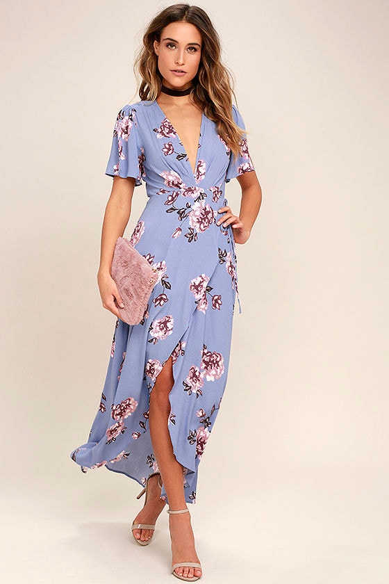ASTR the Label Selma - Periwinkle Floral Print Dress - Maxi Wrap Dress
