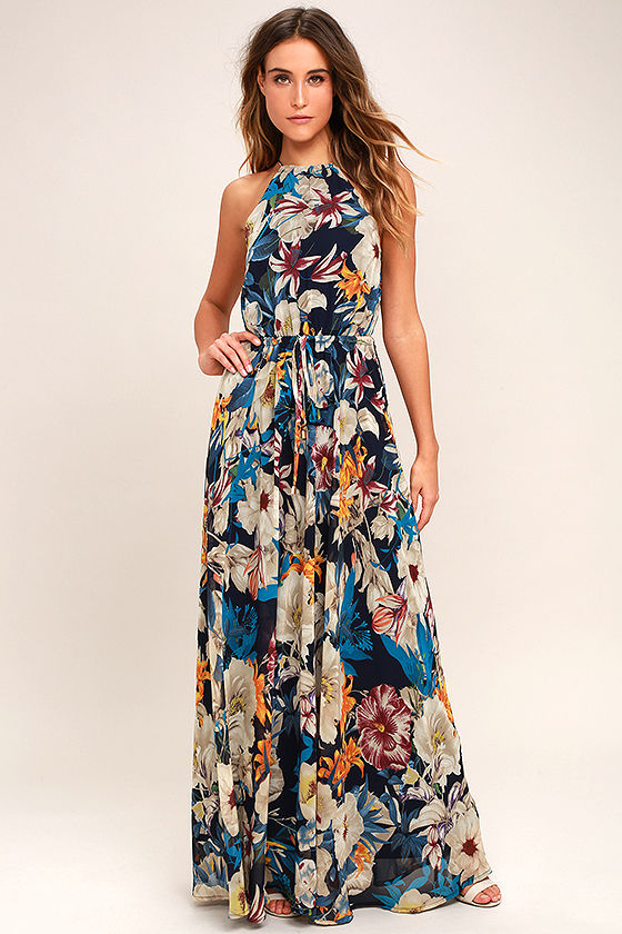 Lovely Navy Blue Dress - Floral Print Dress - Floral Maxi Dress ...