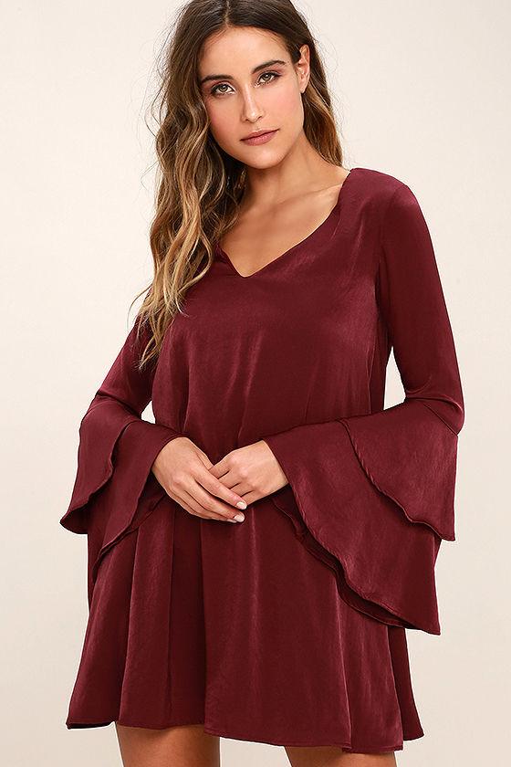 ebd1c32d7762 Lovely Burgundy Dress - Shift Dress - Bell Sleeve Dress - Long Sleeve Dress  -  52.00