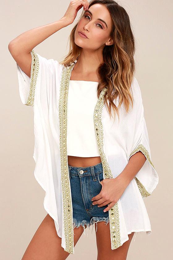 Mediterranean Coast White Embroidered Kimono Top 1