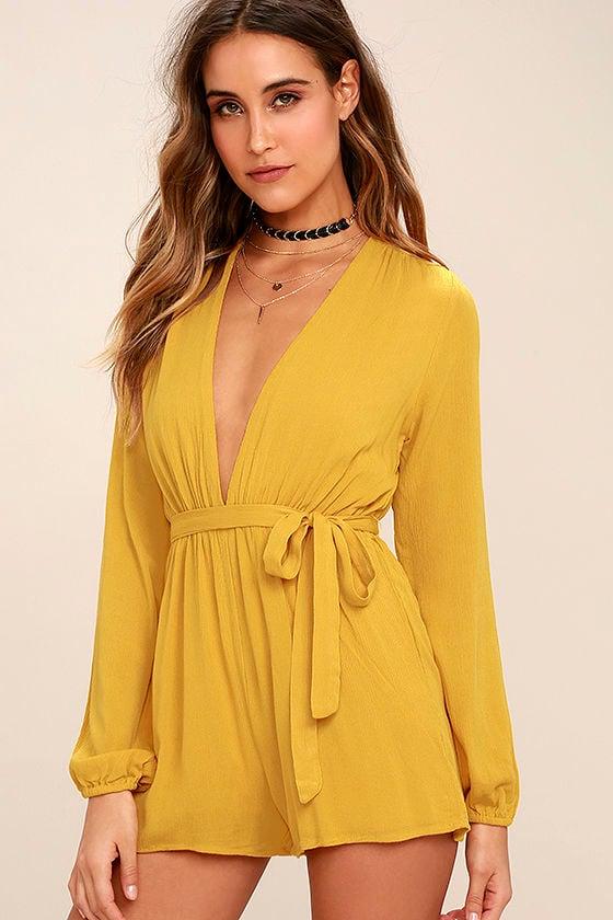 Outspoken Golden Yellow Long Sleeve Romper 1