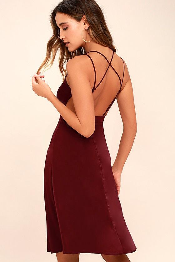 c7e8679ba660 Lovely Wine Red Dress - Midi Dress - Sleeveless Dress -  54.00