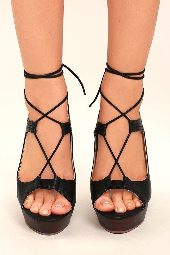 412cad64698 Chic Black Heels - Lace-Up Heels - Platform Heels -  42.00