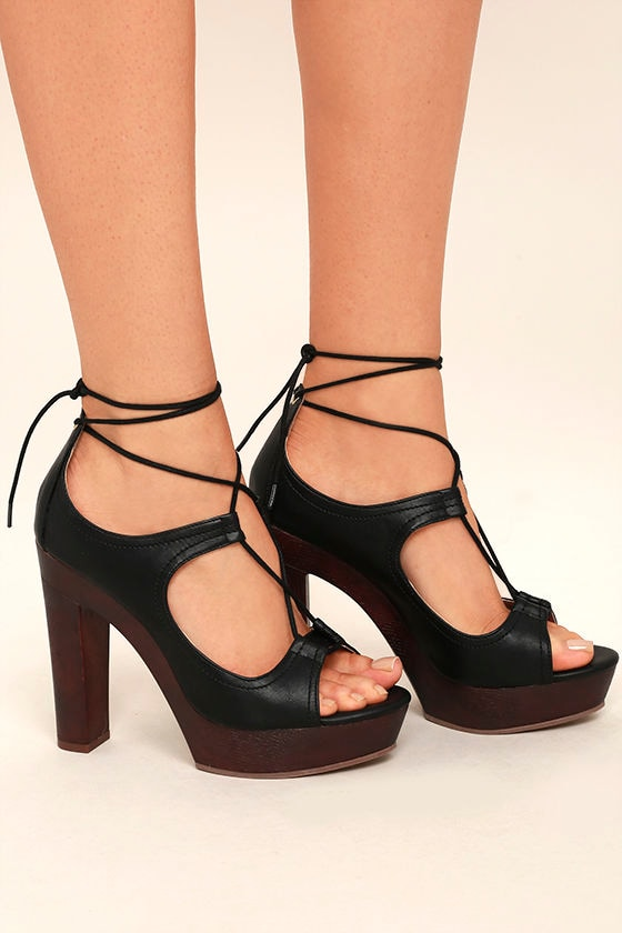 Chic Black Heels - Lace-Up Heels - Platform Heels - $42.00