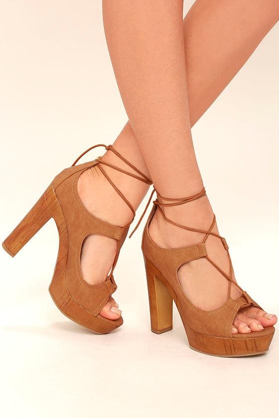 Cool Camel Heels - Platform Heels - Lace-Up Heels - $42.00
