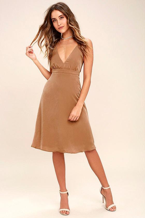 Lovely Light Brown Dress - Midi Dress - Sleeveless Dress - $54.00