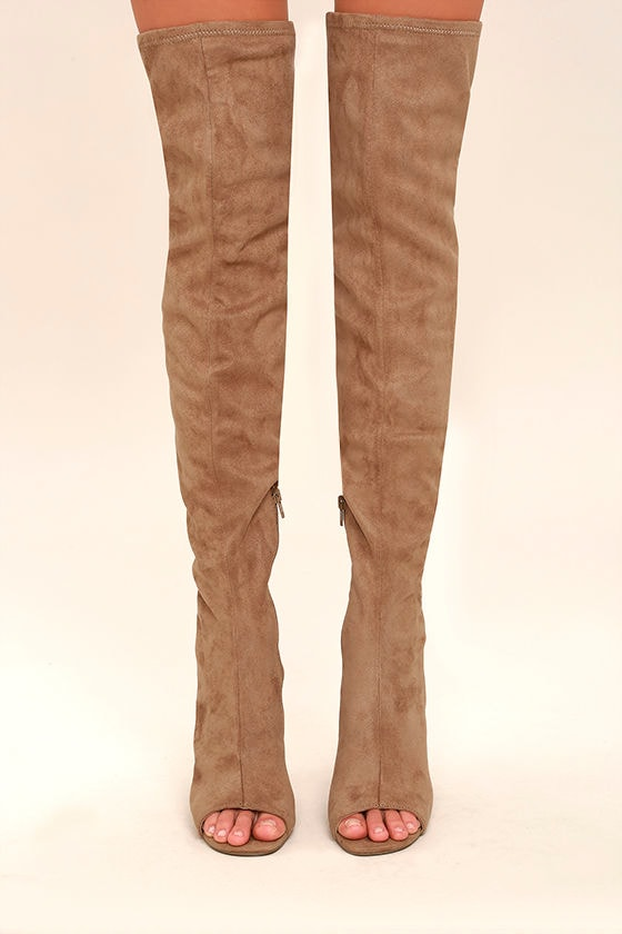 c69802250 Steve Madden Kimmi Boots - Camel Suede Boots - Peep-Toe Thigh High ...