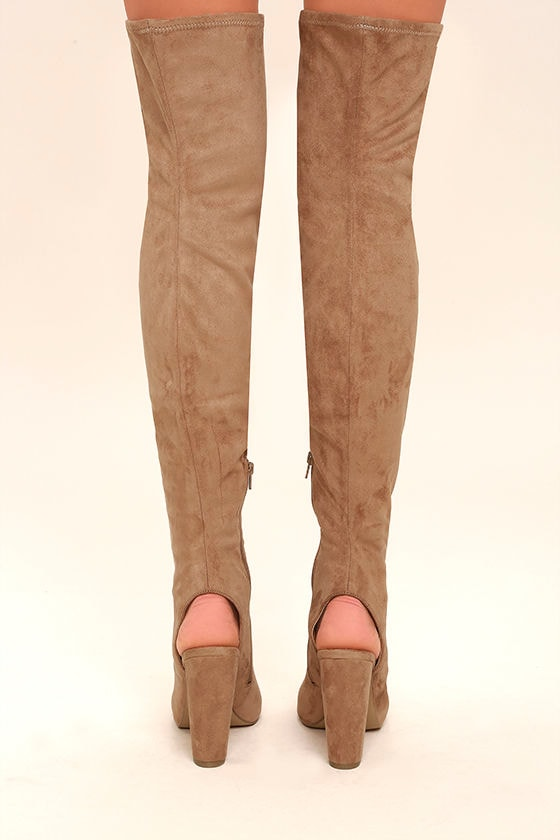 Steve Madden Kimmi Camel Suede Peep-Toe Thigh High Boots 4