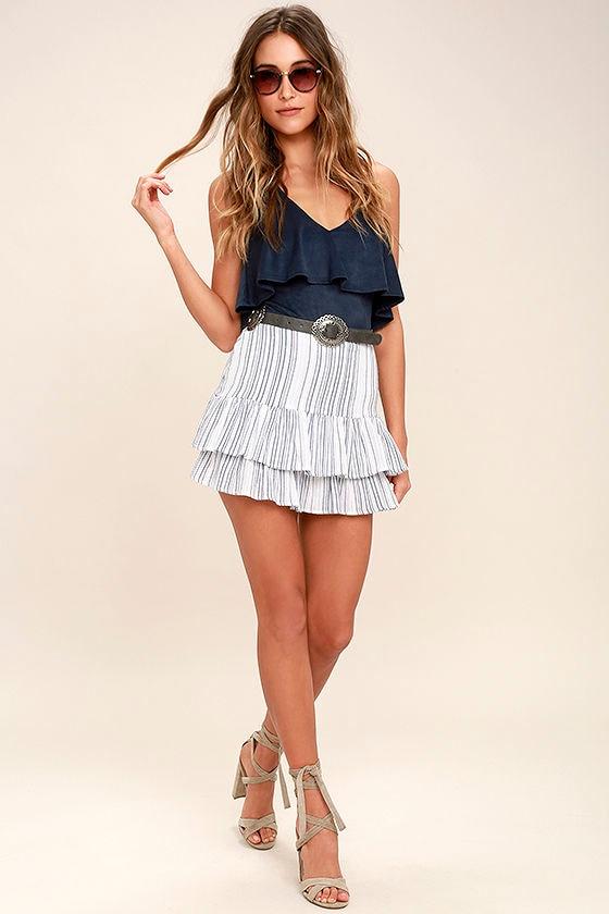 1a442f908885 Cute Blue and White Skirt - Striped Skirt - Mini Skirt - Trumpet ...