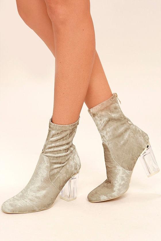 Fabianna Grey Velvet Lucite Mid-Calf Boots 1