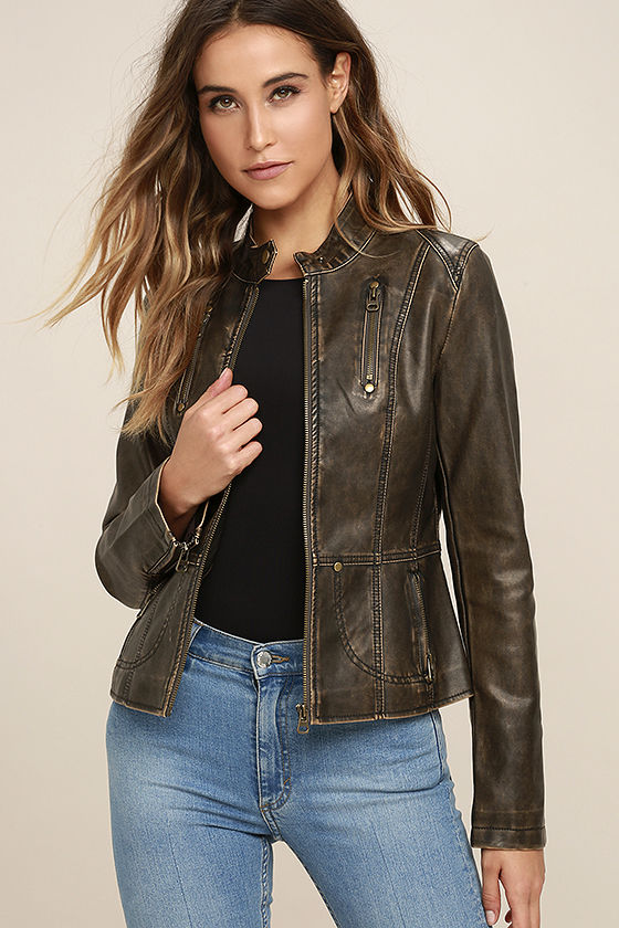 82995d21d Peace of Mind Washed Brown Vegan Leather Moto Jacket