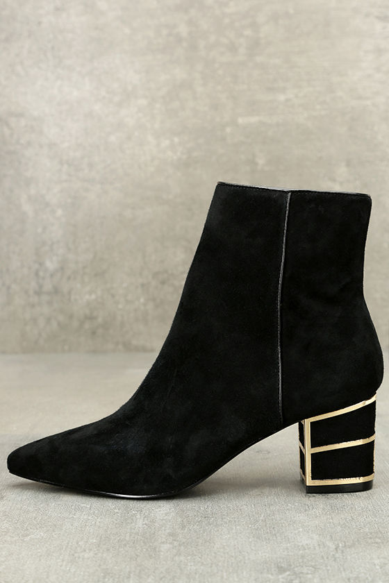 Steven by Steve Madden Bailei Black Suede Leather Booties 1