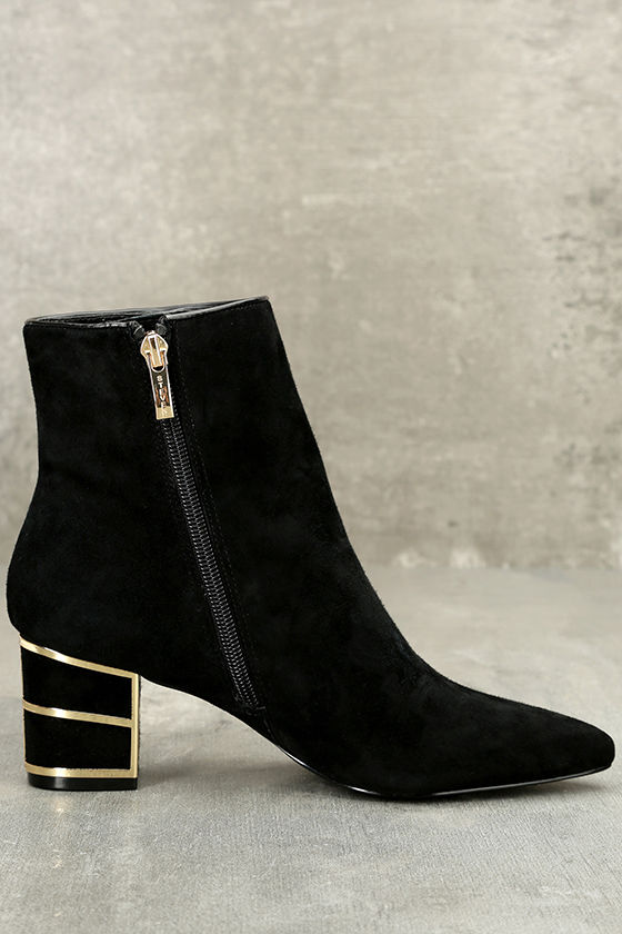 Steven by Steve Madden Bailei Black Suede Leather Booties 4