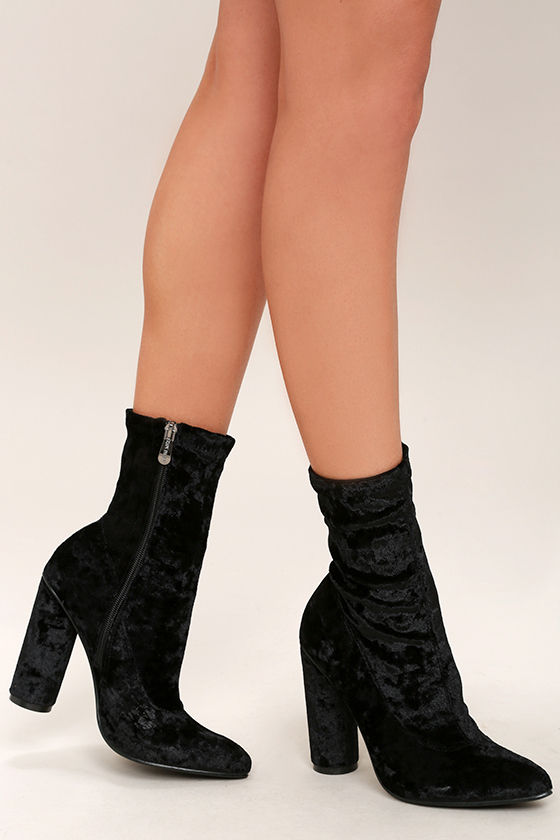 0bef498ade Stylish Black Mid-Calf Boots - Velvet Mid-Calf Boots - High-Heel Boots -  $49.00