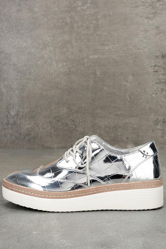 Steven by Steve Madden Pharo Silver Patent Platform Sneakers 1