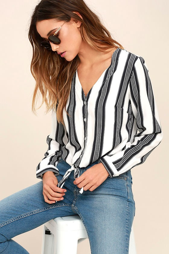 Cole Valley Black and White Striped Top 1