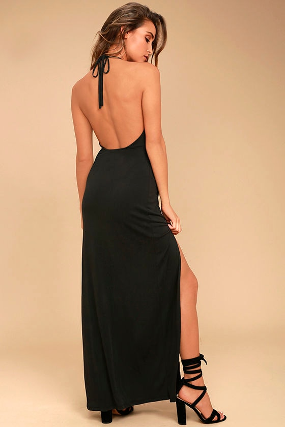 Be Your Hero Charcoal Grey Halter Maxi Dress 1