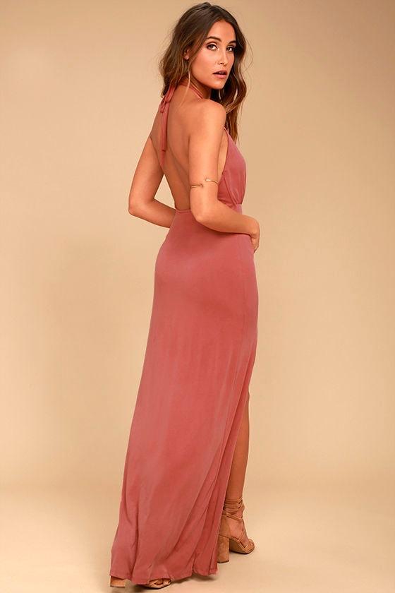 Sexy Rusty Rose Dress - Halter Dress - Maxi Dress - Backless Dress ...